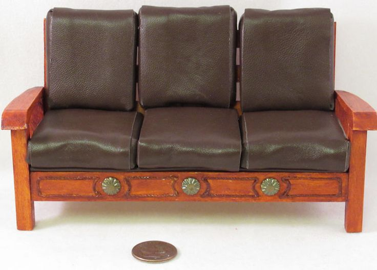 Rustic southwestern sofa cherry color wood with kid leather