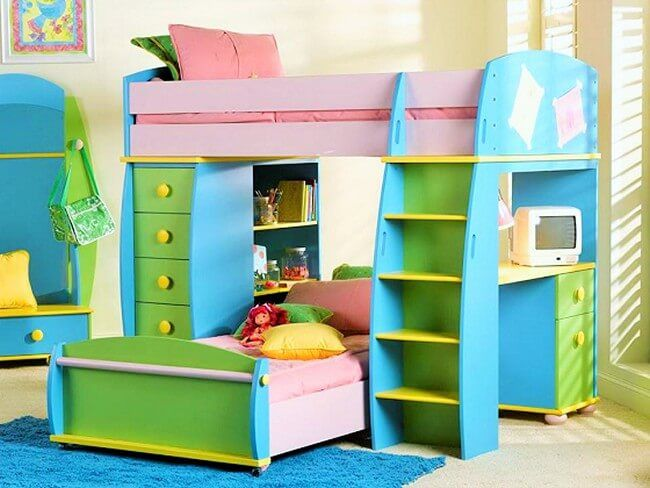 Usually light colors are chosen for the kid's bedroom because they look more perfect in the kid's room as compared to the dark colors. Sometimes siblings share the same room, so they are in several colors like here blue and pink both is used so that kids feel that they both own the room.