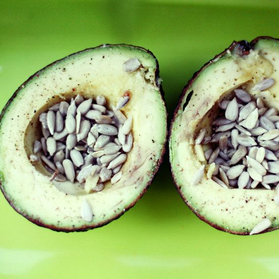 Salty Sunflower Avocado: Craving a salty snack? Skip the oily chips and fill half an avocado with salted sunflower seeds. The creamy texture and slightly sweet flavor of the avocado complements the salty crunch of the sunflower seeds beautifully. This snack is full of healthy fats and is a little over 200 calories