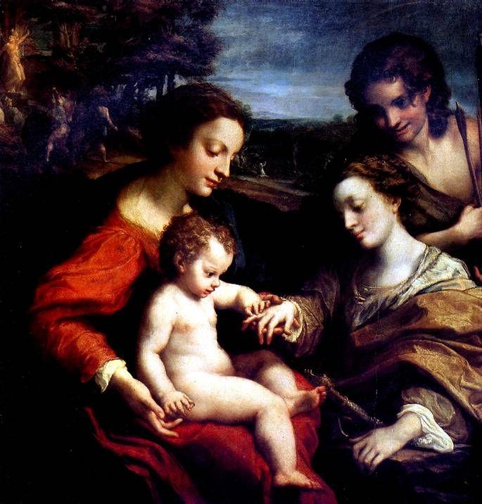 КОРРЕДЖО Обручение св. Екатерины в присутствии св. Себастьяна и с мученичеством двух святых, ок. 1526-1527 Дерево, 105 х 102 см. Коллекция кардинала Мазарини и Людовика XIV; в Лувр поступила в 1661 г.