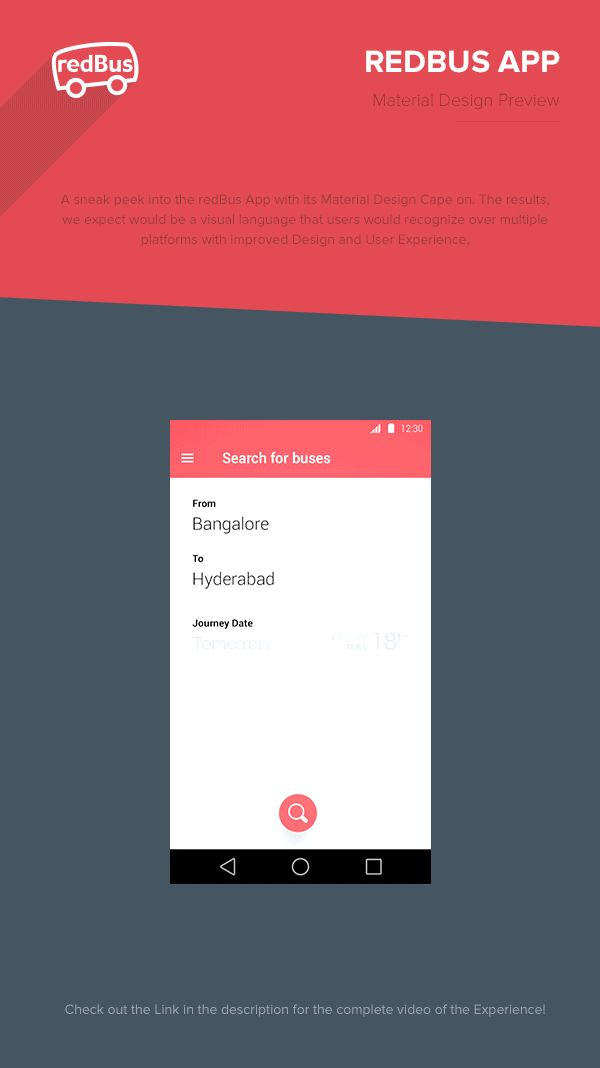 REDBUS APP - Material Design Preview on Behance  #materialdesign #mobile #ui