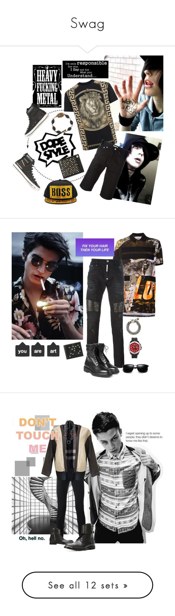 """""""Swag"""" by thedarkenedprince ❤ liked on Polyvore featuring Hai, Versus, Givenchy, Diesel, Roman Paul, men's fashion, menswear, Philipp Plein, Maison Margiela and Ann Demeulemeester"""