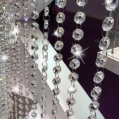 Acrylic String Curtain Room Divider Crystal Beads Door Window Panel Wedding