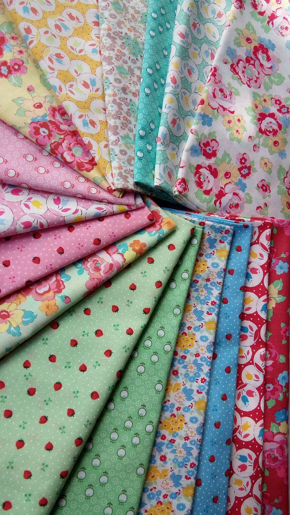 This 16 fat quarters bundle of Leciens RETRO 30s SMILE CHILD 2016 fabrics in multi includes one fat quarter (approximately 18 x 21) from each of the following designs: Tiny Strawberries in Pink~ 31440L-20; Tiny Strawberries in Blue ~ 31440-70; Tiny Strawberries in Green ~