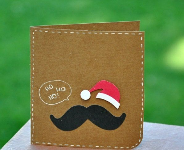 weihnachtsmütze weihnachtskarten ideen basteln schön schnurbart