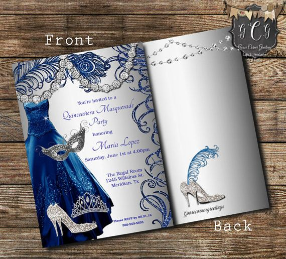 Quinceanera Masquerade Invitation,Sweet 15 Invitations,Sweet sixteen invitation,Quinceanera Invitations, Royal Blue Dress, Bling Invitations