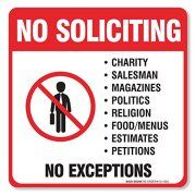 """(4 Pack) No Soliciting Sign - Decal Self Adhesive """"5½ X 5½"""" 4 Mil Vinyl Decal - Indoor & Outdoor Use - UV Protected & Waterproof - Sleek, Rounded Corners - Deters Solicitors Image 1 of 4"""