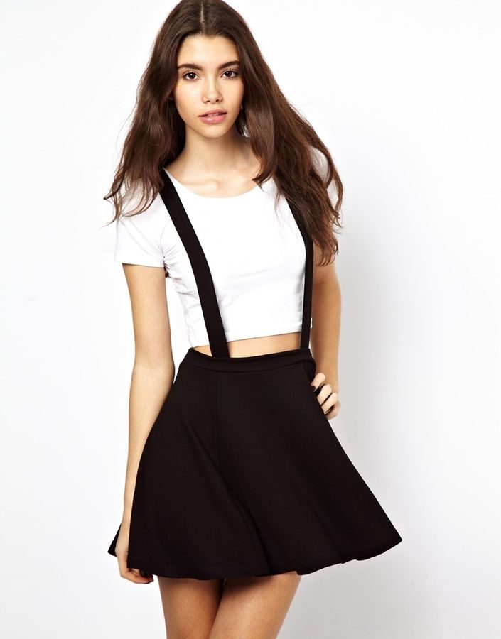 $37, Asos Ponte Skater Skirt With Suspenders Black. Sold by Asos. Click for more info: https://lookastic.com/women/shop_items/27076/redirect