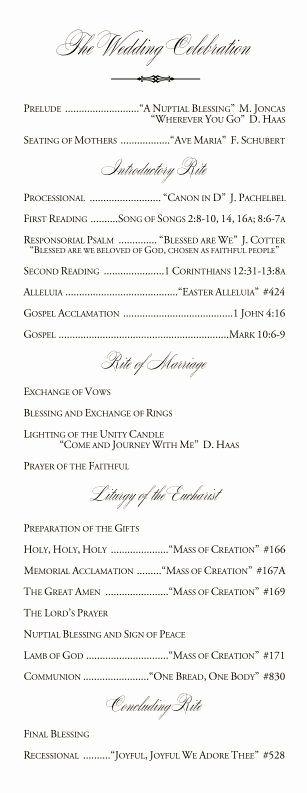 Catholic Wedding Program Template without Mass
