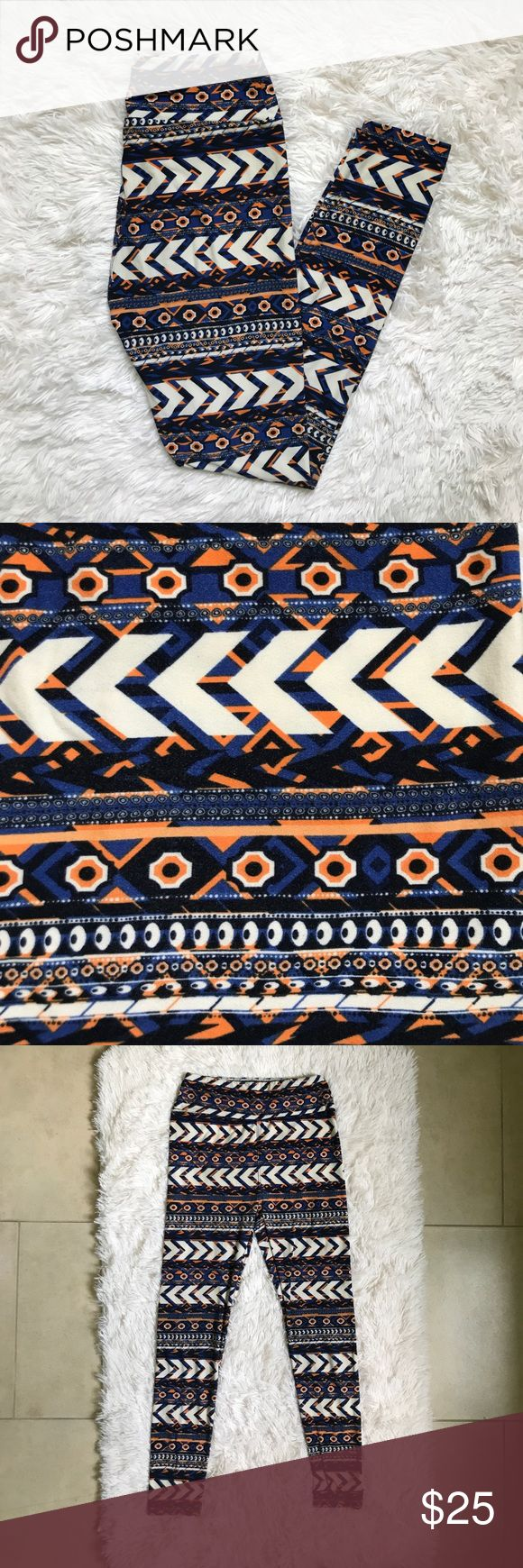 Lularoe tribal print leggings These Orange and blue Lularoe tribal print leggings are super soft! They come in one size. LuLaRoe Pants Leggings