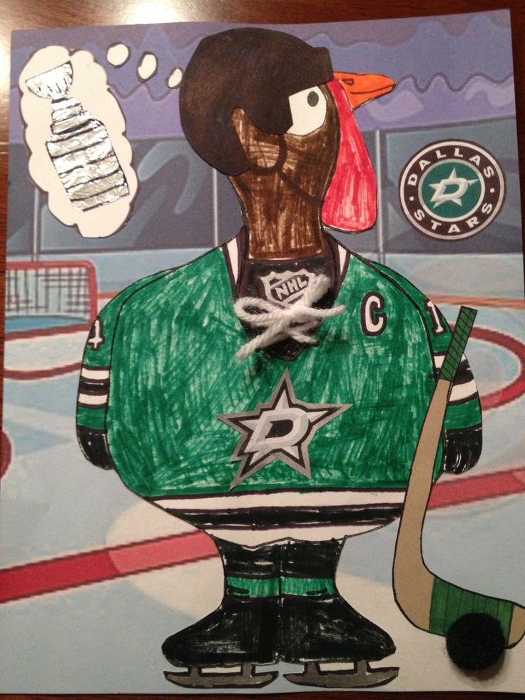 "Tyler's 1st grade ""Turkey in Disguise"" project...  Go Dallas Stars!"