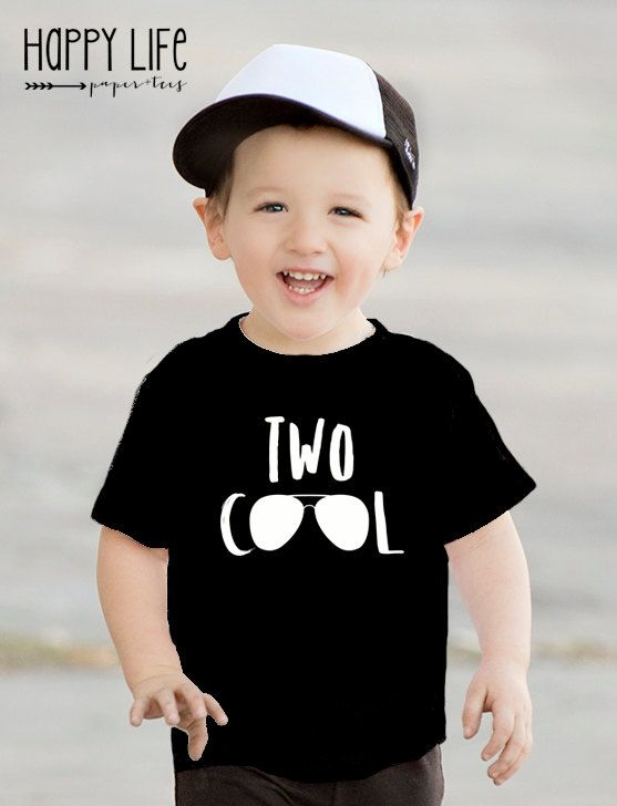 Second Birthday Shirt TWO COOL Two Year Old 2nd Trendy Kids Clothes Hipster
