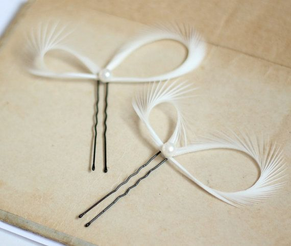 Bridal hair pins created with goose biots, adorned with cultured pearls in a natural off white color (7mm), a whimsical piece for a bride to be or