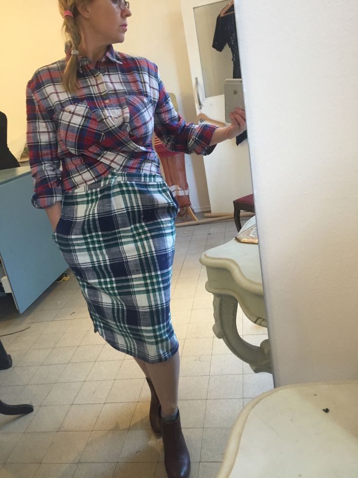 Shirt dress from old checkered men's shirts