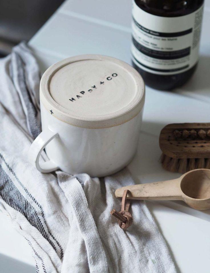 Happy + Co's handcrafted mug - sustainable design - minimal kitchen
