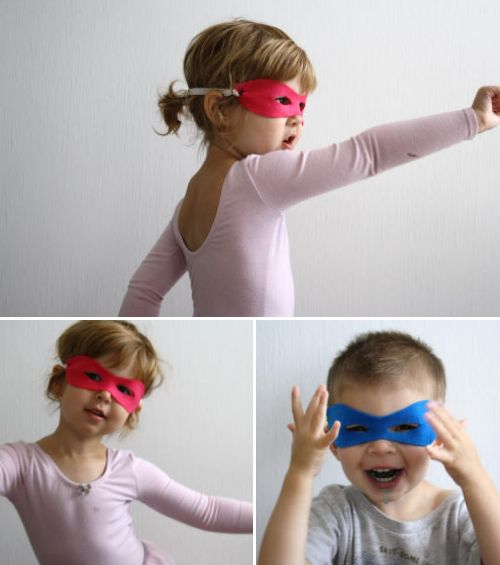 No Sew! Superhero Masks!  Too cute.