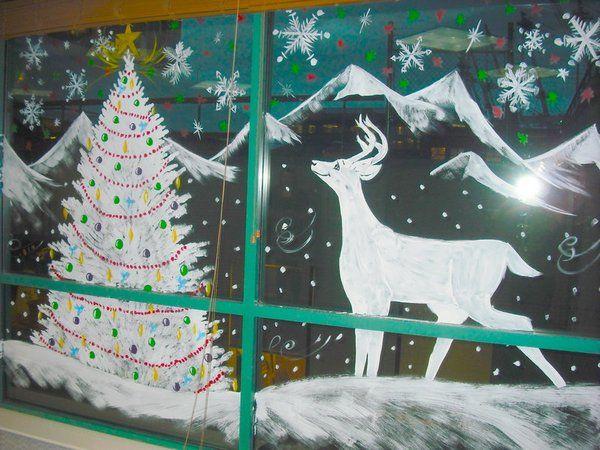Новогодние рисунки на окнах зубной пастой