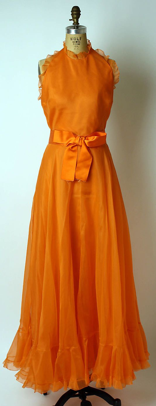 Ensemble House of Dior (French, founded 1947) Designer: Marc Bohan (French, born 1926) Date: spring/summer 1972 Culture: French. Halter top dress with a matching shawl. scarf