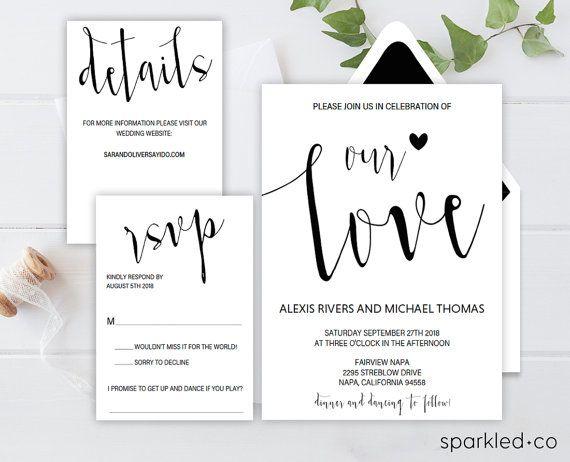 Rustic Wedding Invitation Template, Wedding Invitation Templates, Wedding  Cards, Printable Wedding Invitations, Calligraphy Invitation