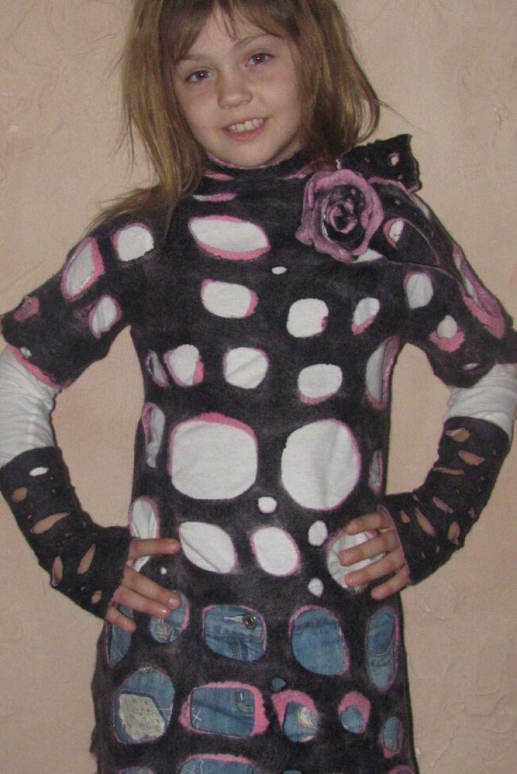 Туника рваная валяная розовая и черная двусторонняя - Каталог рукоделия #96933