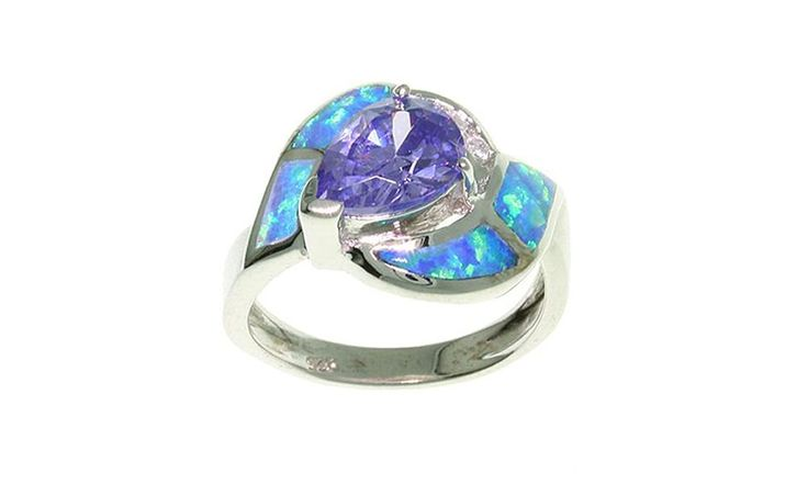 Jewelry Trends Sterling Silver Created Blue Opal and Clear and Purple Cubic Zirconia Ring *** Read more  at the image link. (This is an Amazon Affiliate link and I receive a commission for the sales)