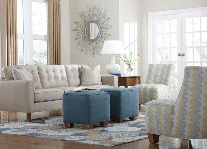 Button tufting and self–welting combine for a tailored, midcentury modern look. Banded bases and track arms give these sleek silhouettes shape. Filled with a down–blend, accent pillows soften this collection. Loose seat cushions feature 1.8–density foam and are supported by no–sag springs. Arrange and rearrange two or four cube ottomans to satisfy your whim.