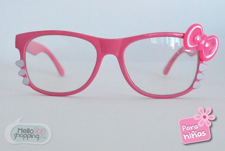 Hello Kitty lentes para niña rosa, con moño rosa y bigotes. mica transparente. $129.00