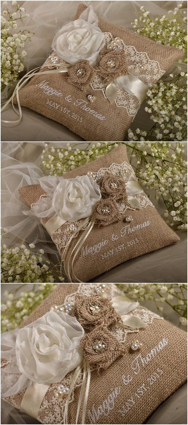 Rustic country burlap wedding ring bearer pillow @4LOVEPolkaDots