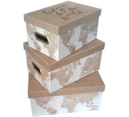 World Travel Decorative Boxes; Set Of 3 (Small, Medium, Large) Lined