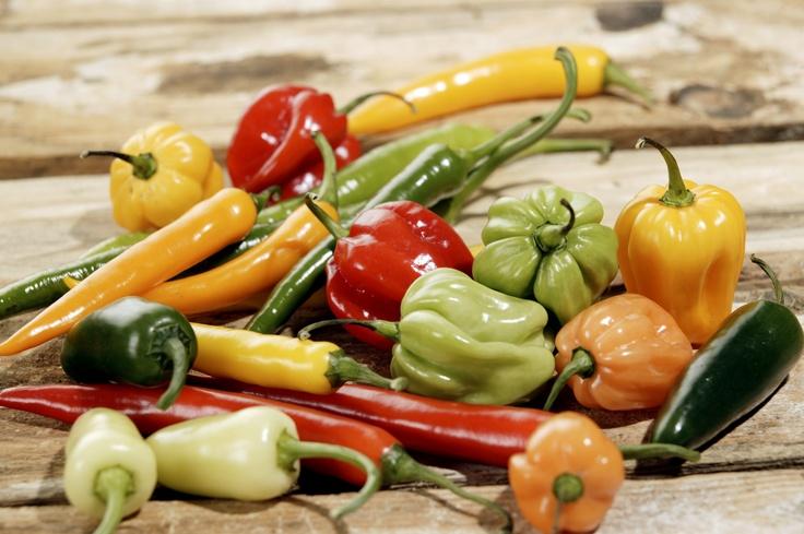 Kleurrijke pepers en paprika's