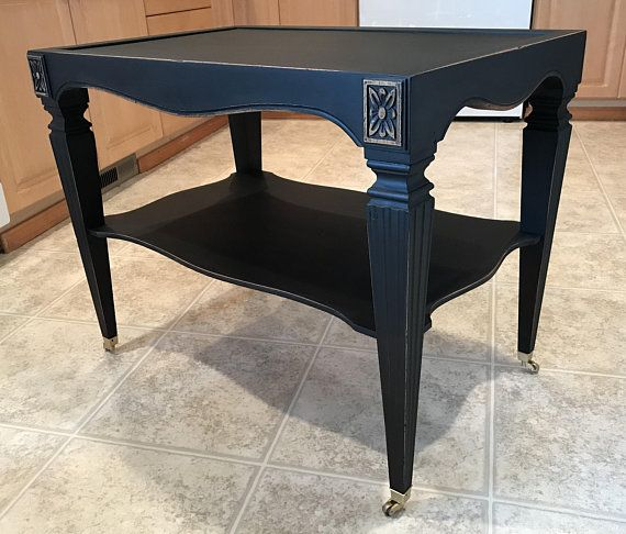 Black Painted End Table Coffee Table Accent Table Chalk Painted