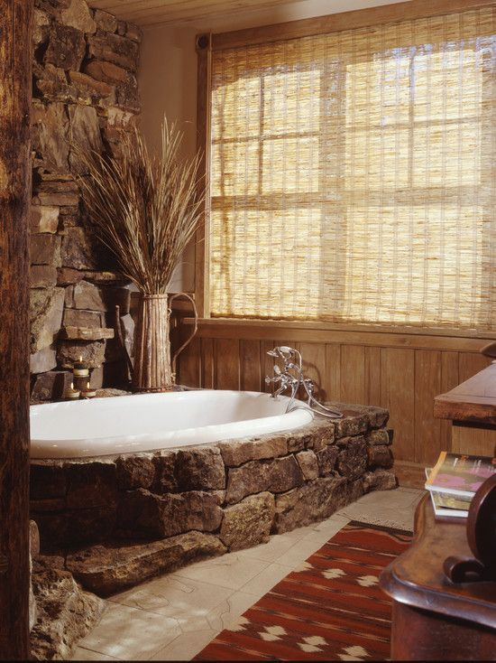 Adorable Natural Stone Bathtubs Design: Adorable Rustic Bathroom With Natural Stone Bathtubs Style Also Rustic Curtains With Comely Cream Tile Floor Also Artistic Bath Mat Pattern With Wooden