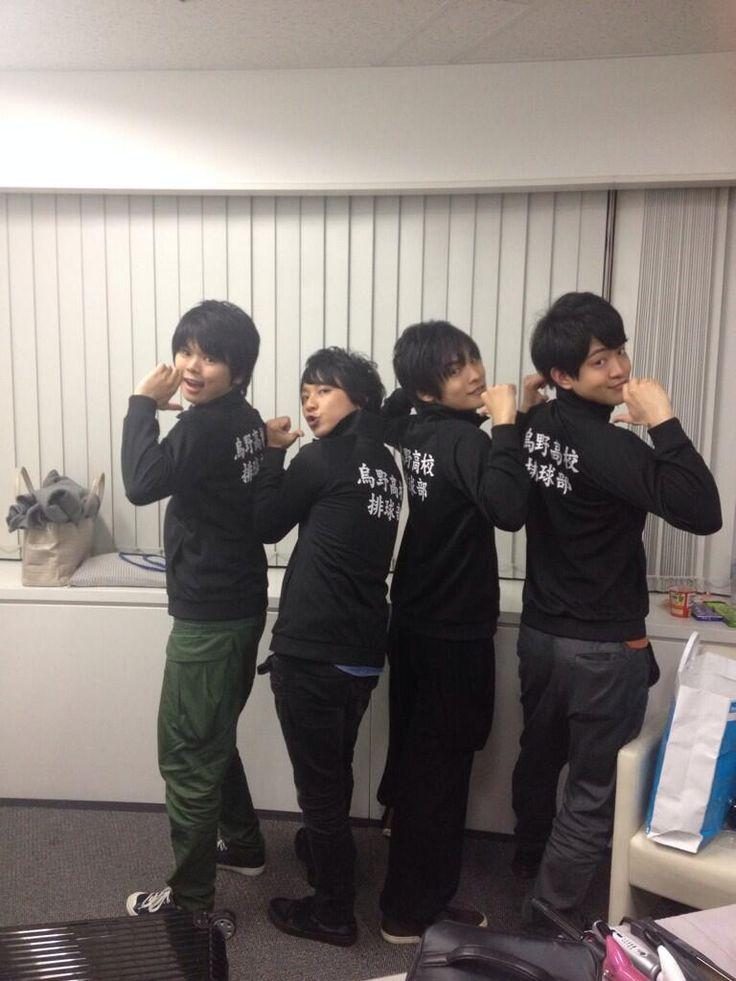 #Haikyuu! Voice Actors! From the left, Ayumu Murase, You Hayashi, Nobuhiko Okamoto and Kaito Ishikawa. Photo by Hayashi's twitter.