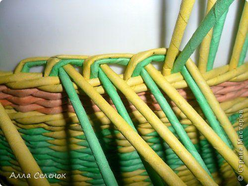 Мастер-класс Поделка изделие Плетение Очередная корзиночка и обещаныё МК Загибки Трубочки бумажные фото 5