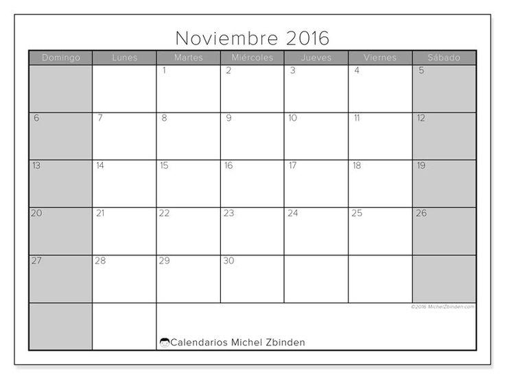Gratis! Calendarios para noviembre 2016 para imprimir