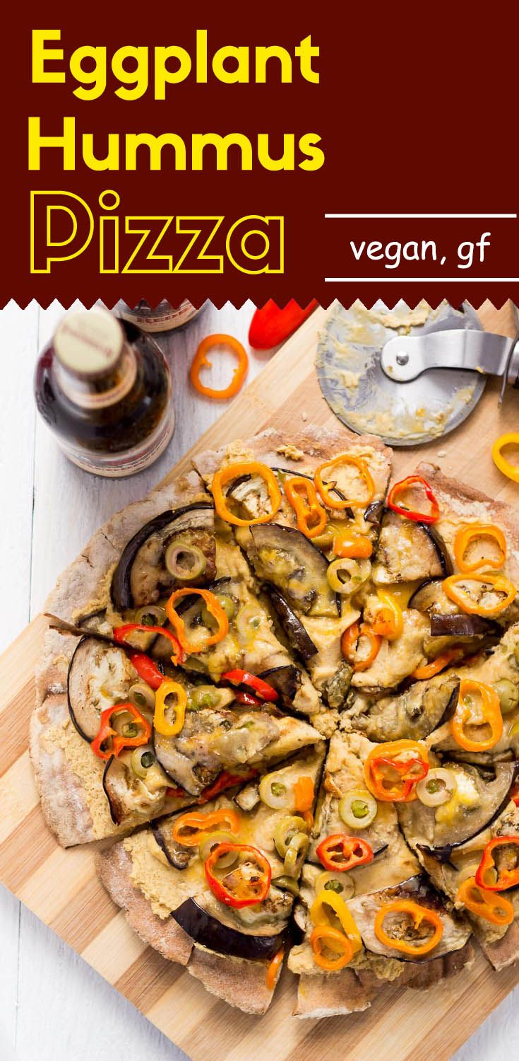 This vegan, gluten-free, thin crust eggplant hummus pizza is super satisfying, even though it lacks all of the traditional pizza ingredients.