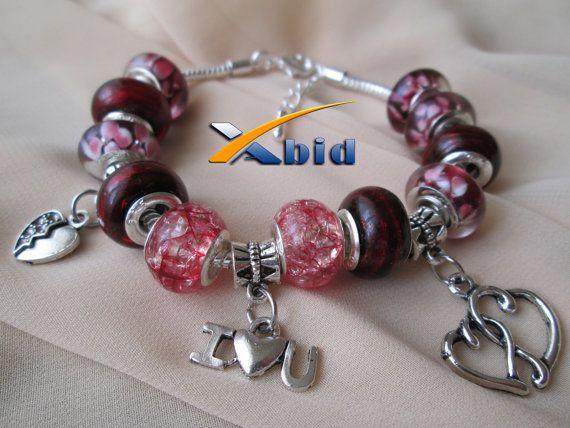 European Charm Bracelet  I LOVE YOU by xabid on Etsy, $18.00