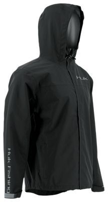 Huk Packable Rain Jacket for Men - Black - 2XL