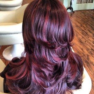 New do39 burgundy hairstyles for long hair pinterest highlights celebrity pmusecretfo Images