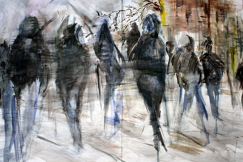 Parisian Crowd 112 x 76 Ink and Gouache on Watercolour paper