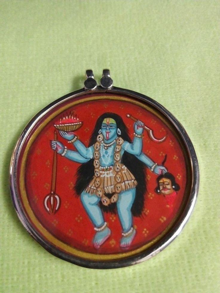Handmade 92.5 Sterling Silver Hindu Deity Tantra KALI Mata Minitaure Art Pendant #Pendant offered by silverartindia on eBay.com