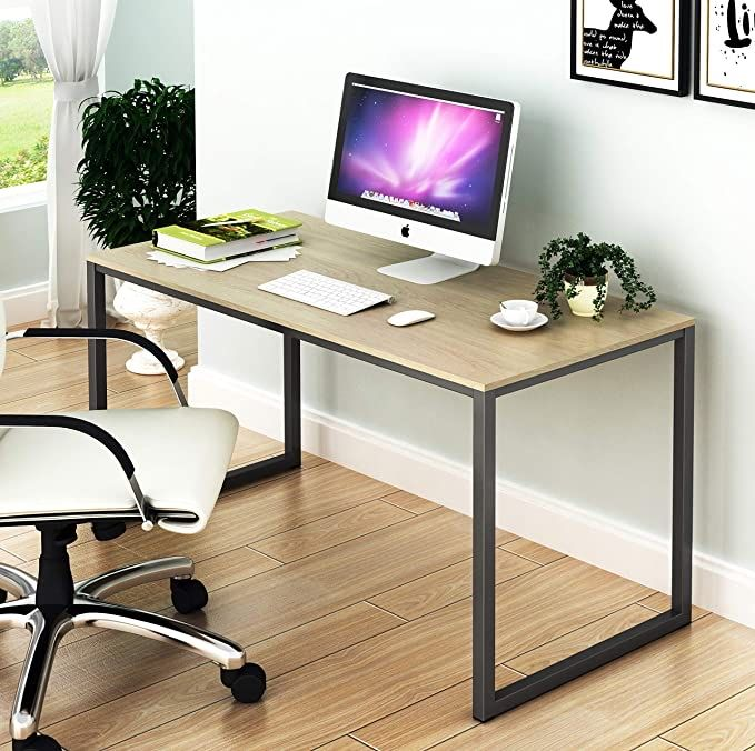 Shw Home Office 48 Inch Computer Desk Maple In 2020 Large Computer Desk Desks For Small Spaces Best Home Office Desk