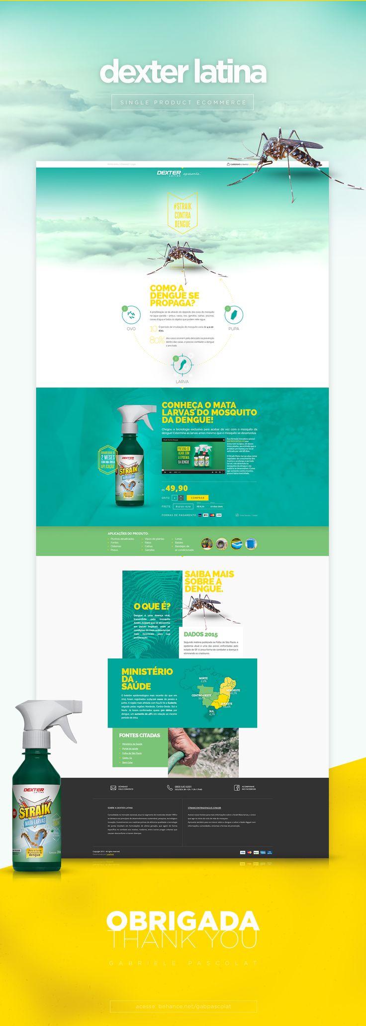 Criação de landing page informativa sobre a dengue e ecommerce de apenas um produto para Dexter Latina.