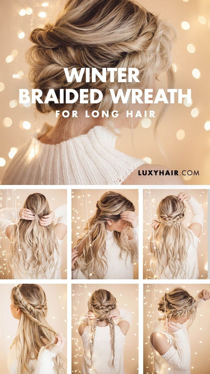 Braided Halo Hairstyle Easy Updo For Long Hair Long Hair Updo Braided Halo Hairstyle Long Hair Styles