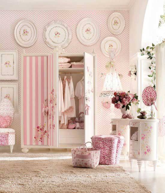 Pink bedroom with armoire