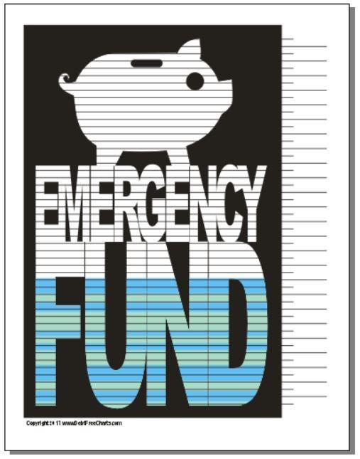 Emergency Fund Savings Chart Debt Free Charts