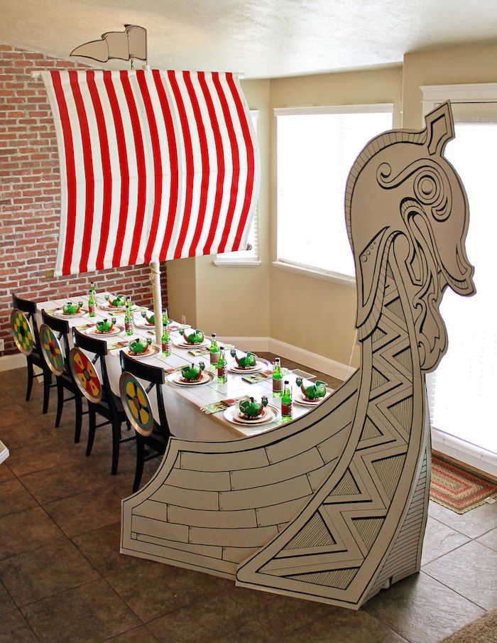 Love this tablescape at a Viking and Dragon themed birthday party via Kara's Party Ideas KarasPartyIdeas.com Printables, invitation, cake, decor, cupcakes, and more! #vikingparty #dragonparty #medievalparty