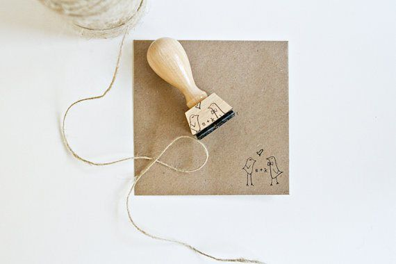 Personalised wedding stamp - see more ideas at http://themerrybride.org/2014/09/06/ideas-for-personalising-your-wedding/