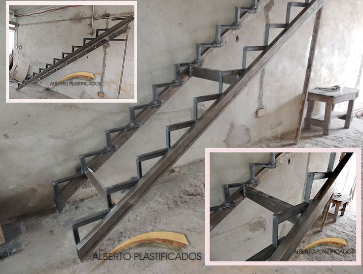 creación de estructura de metal para escalera que luego será revestida con madera