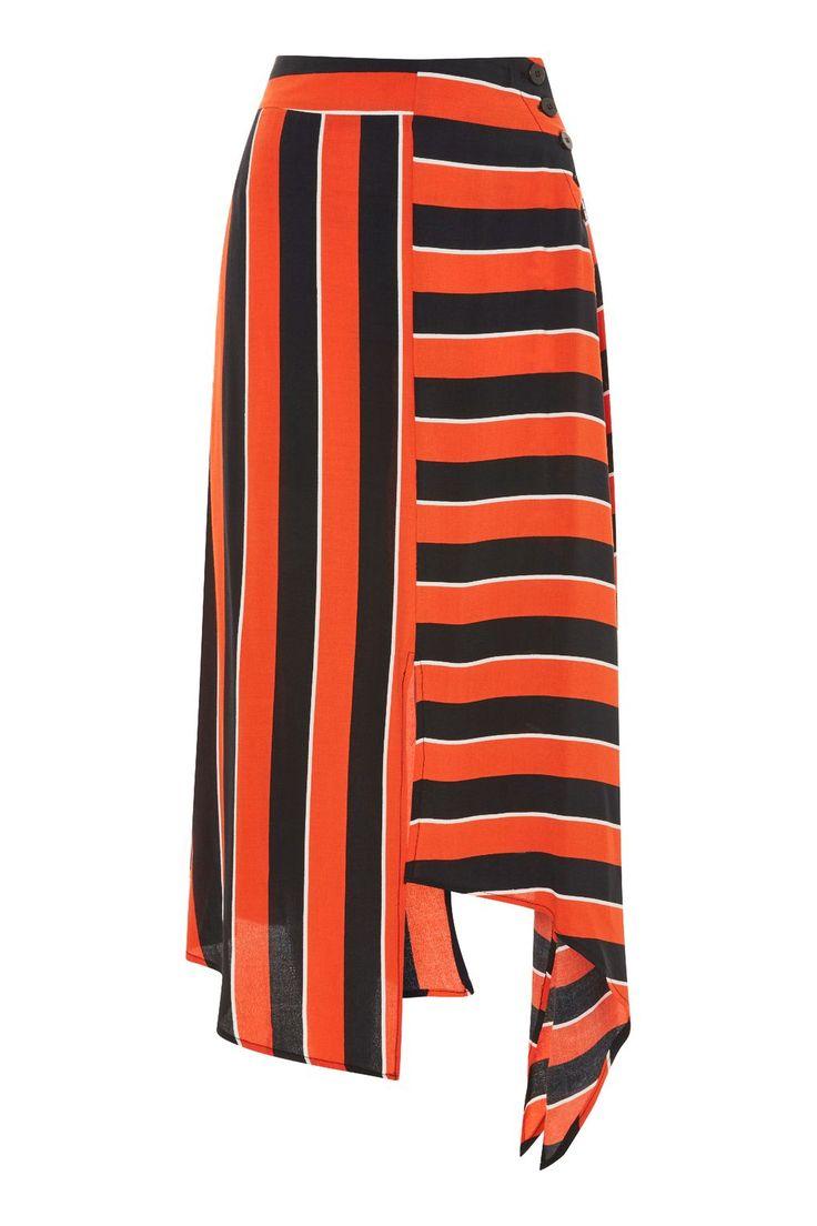 Bold Stripe Hanky Hem Skirt via TOPSHOP